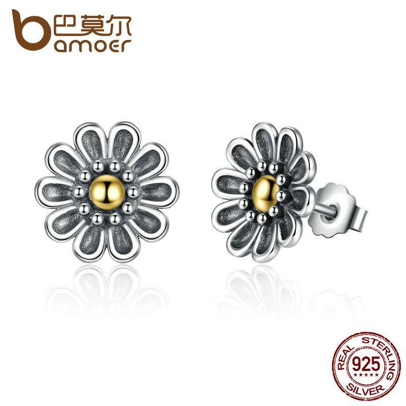 BAMOER Authentische 100% 925 Sterling Silber Schwarz Chrysantheme Blume Stud Ohrringe Für Frauen Edlen Schmuck PAS455