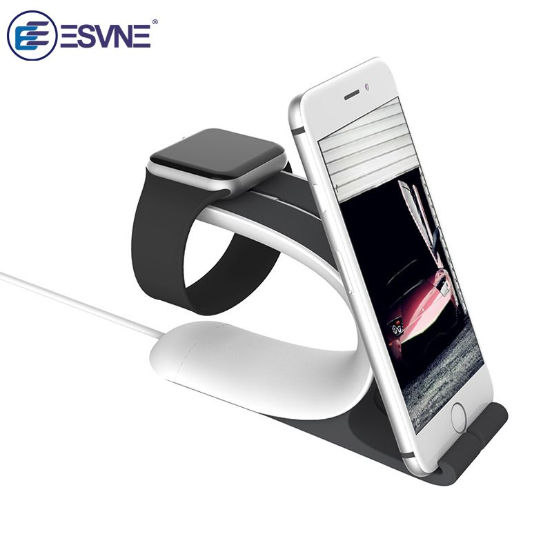 ESVNE Desktop Stand Mobile Phone Holder for iWatch Series 2/1/iPhone for Apple Watch Wireless Charging Support cellular phone