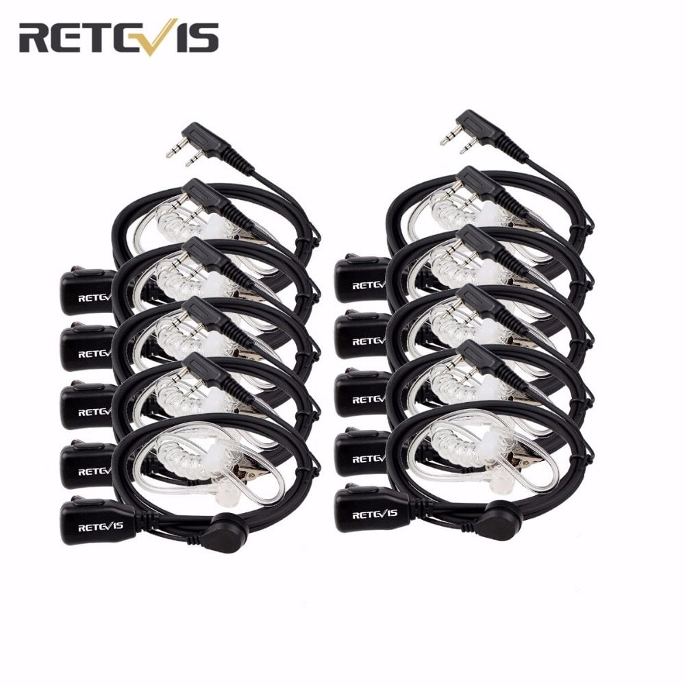 10 pc Retevis 2 Pin PTT MIC Headset Covert Acoustic Tube In-ear Earpiece For Kenwood For Baofeng Ham Handy Radio C9003