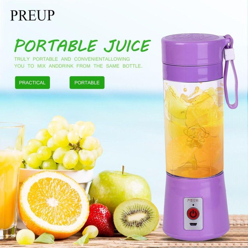 PREUP Portable 380ml USB Electric Fruit Juicer Machine Blender Shake Handheld Smoothie Maker Rechargeable Juicer Bottle 4 Colors