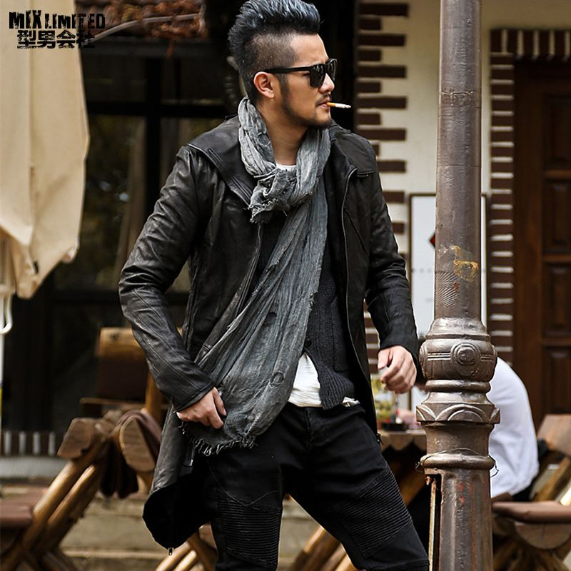2018 Men cut head layer sheepskin long genuine leather jacket metrosexual man fashion top quality European style leather jacket