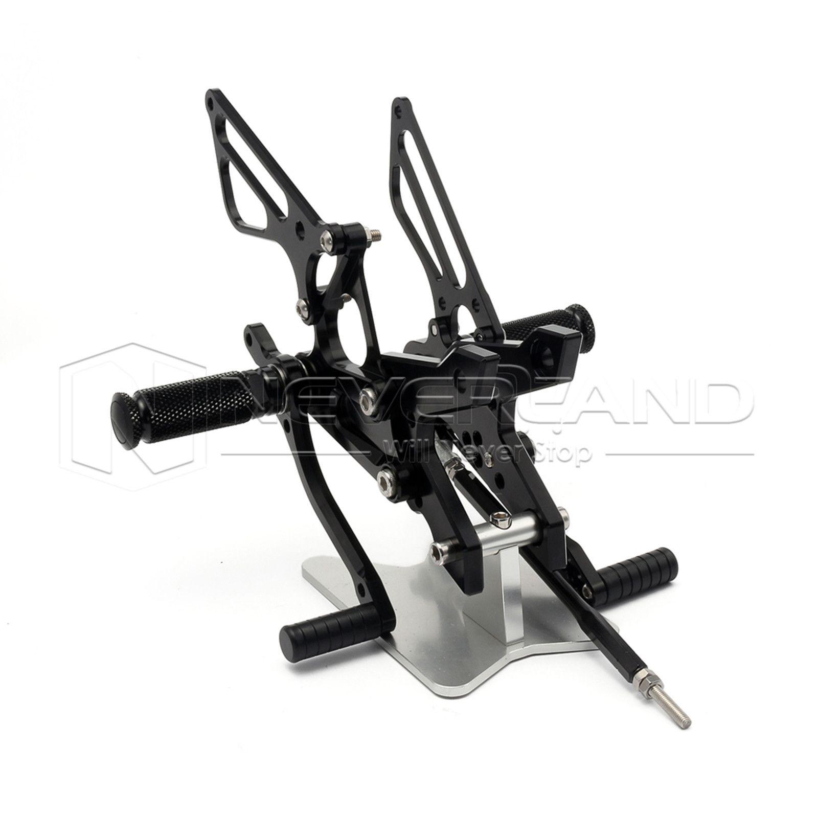 Adjustable Aluminum Alloy CNC Motorcycle Rear Set Foot Pegs For KAWASAKI Z750 07-13 Z1000 07-10 Black Silver Foot Rests D25