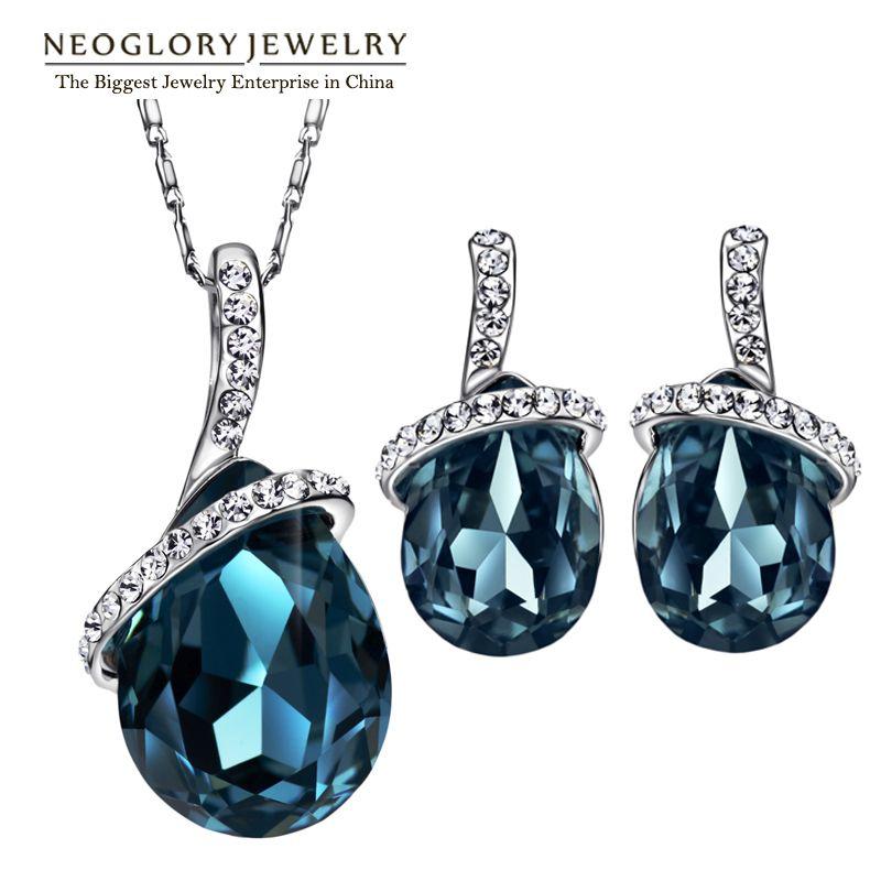 Neoglory Austrian Rhinestone Crystal Costume Bridal Wedding Jewelry Sets For Women Romantic Fashion Big 2017 Brand New JS9 BS