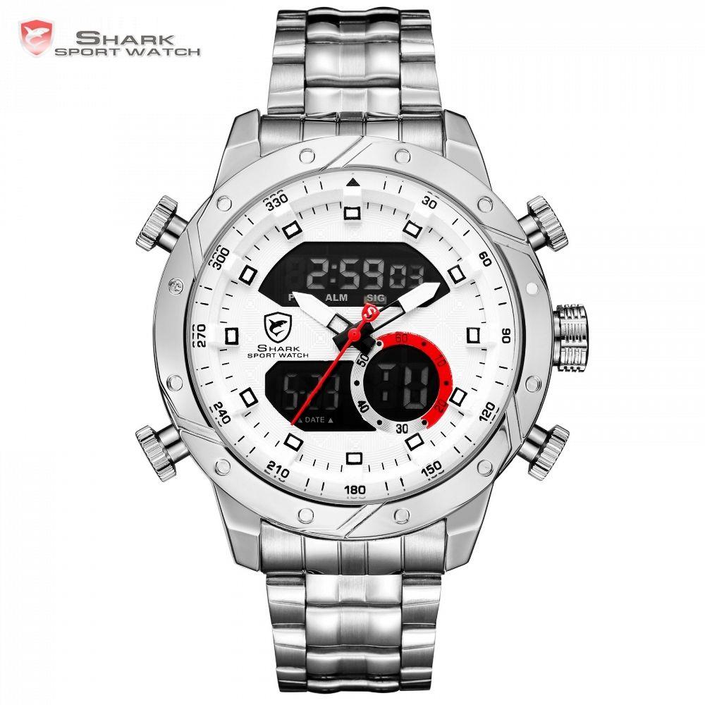Snaggletooth SHARK Sport Watch LCD Auto Date Alarm Steel Band Chronograph Dual Time Men Relogio Quartz Digital Wristwatch /SH589