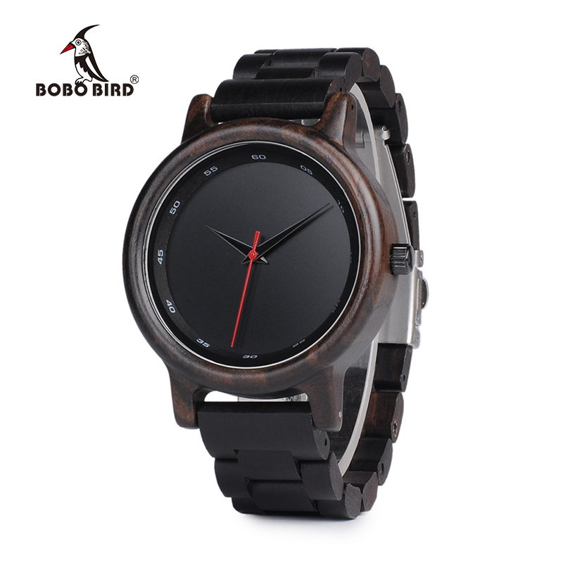 BOBO BIRD WP10 Ebony Wood Watch for Men Casual Calibration Circle Wooden Band New Quartz Watches as Gift Accept OEM Dropshipping