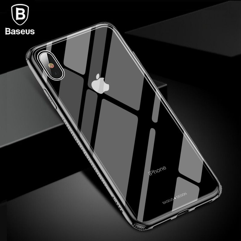Baseus Luxury Glass Case For iPhone XS Max Xr TPU Edge Tempered Glass Cases Back Protective Cover Coque For iPhone Xsmax Fundas