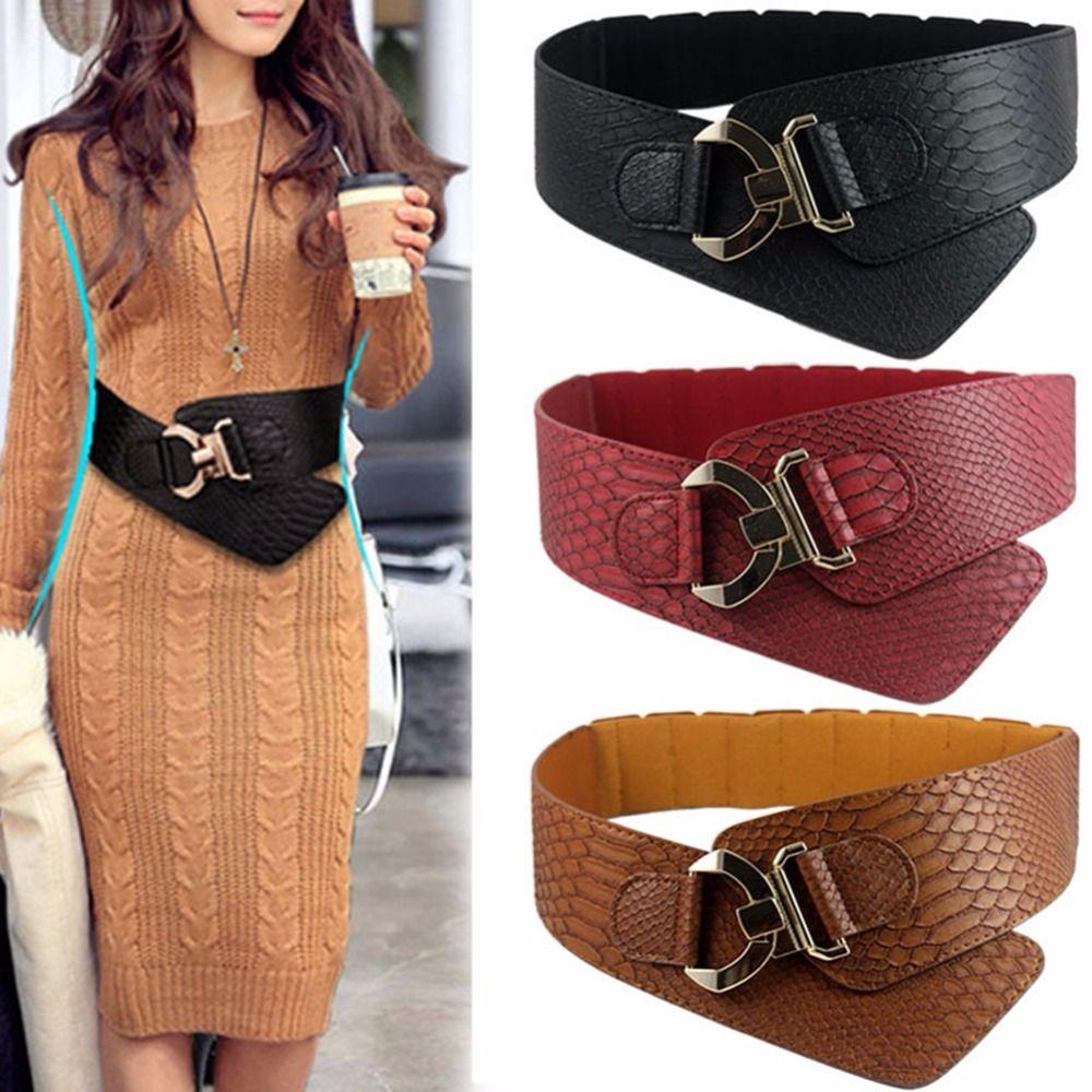 Large ceinture élastique Cinch femmes Rocker mode ceinture or métal Rivet larges ceintures pour robe manteau Cummerbund Style rétro