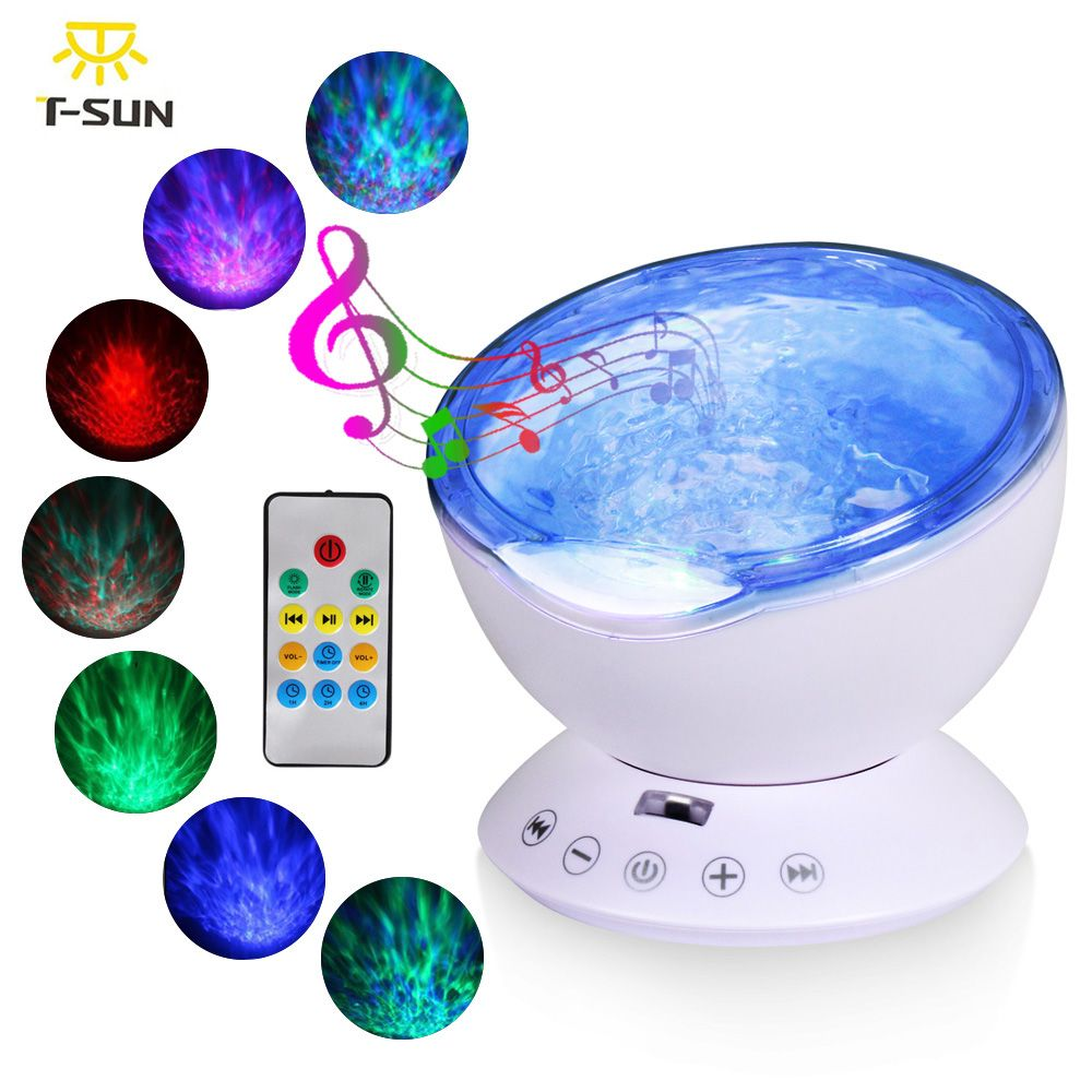 T-SUNRISE Ocean Wave Music Night Light Projector with Built-in Mini Music Player USB Lamp LED Night light for Baby Children Room