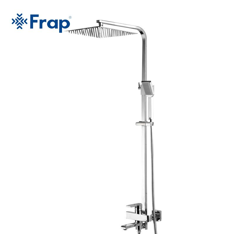 Frap Luxury Wall Mounted Rain Shower faucets Set Square Stainless steel top spray with ABS Hand Shower torneiras monocom F2415