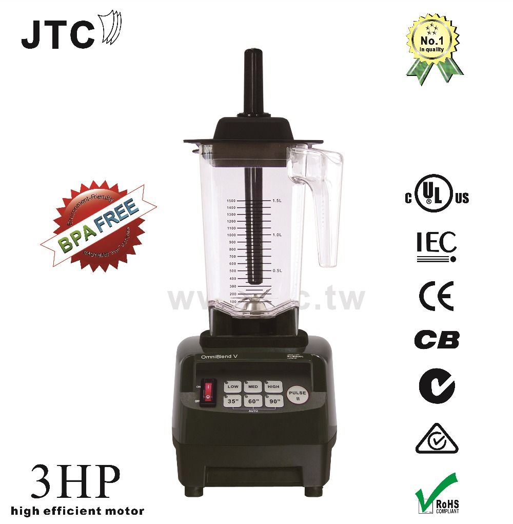 JTC 3HP Food blender with BPA free jar, Model:TM-800AT, Black, free shipping, 100% guaranteed, NO. 1 quality in the world
