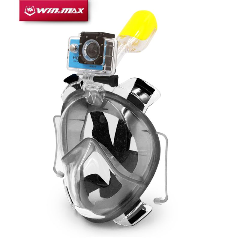 Winmax Freediving Underwater Scuba Anti Fog Full Face Diving Mask Snorkeling Set with Earplug and Camera Holder Mount for Gopro