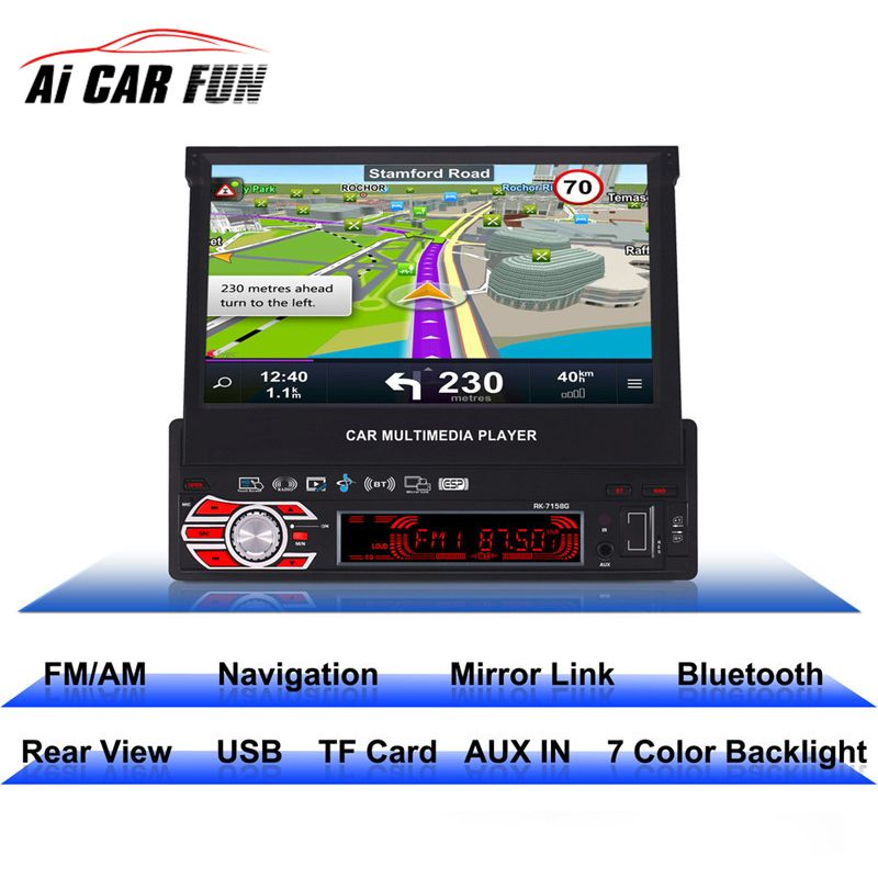 RK-7158G 1 Din Car Radio Media Multimedia Player Full Retractable Screen MP5 /MP4 / MP3 GPS Navigation Rearview Camera