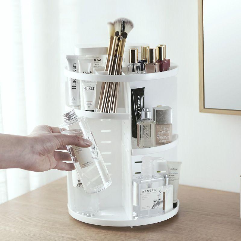 [Video] Fashion 360-degree Rotating Makeup Organizer Box Brush Holder Jewelry Organizer Case Jewelry Makeup Cosmetic Storage Box