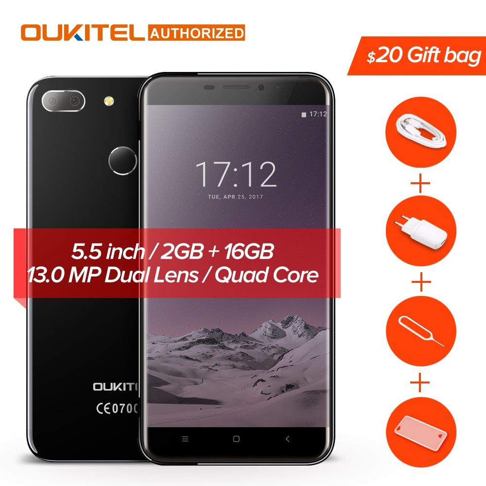 <font><b>Oukitel</b></font> U20 Plus 4G Mobile phone Android 6.0 5.5inch IPS FHD MTK6737T Quad Core 13MP Dual Lens Back Camera 2GB + 16GB Smartphone