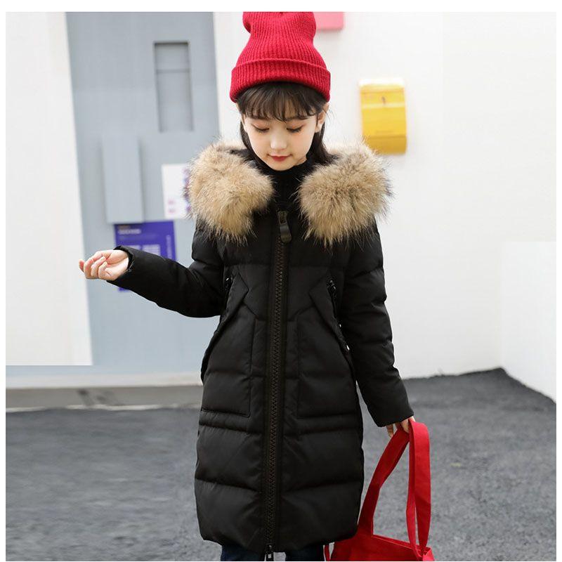 С капюшоном теплая зимняя куртка для девочки Новинка 2017 толщиной чуть Крупные девушки зимние куртки с меховым капюшоном красный цвета: зеле...