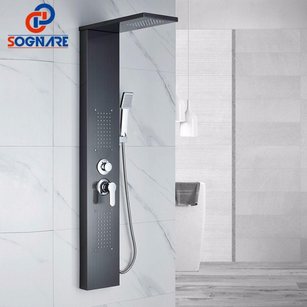 SOGNARE Dusche Wand Panels Öl Eingerieben Bronze Regen Wasserfall Dusche Panel Wand Halterung Massage System Handbrause Dusche Spalte Set