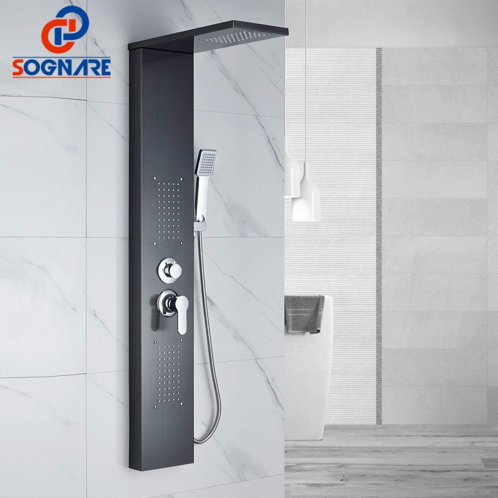 SOGNARE Shower Wall Panels Oil Rubbed Bronze Rain Waterfall Shower Panel Wall Mount Massage System Handshower Shower Column Set