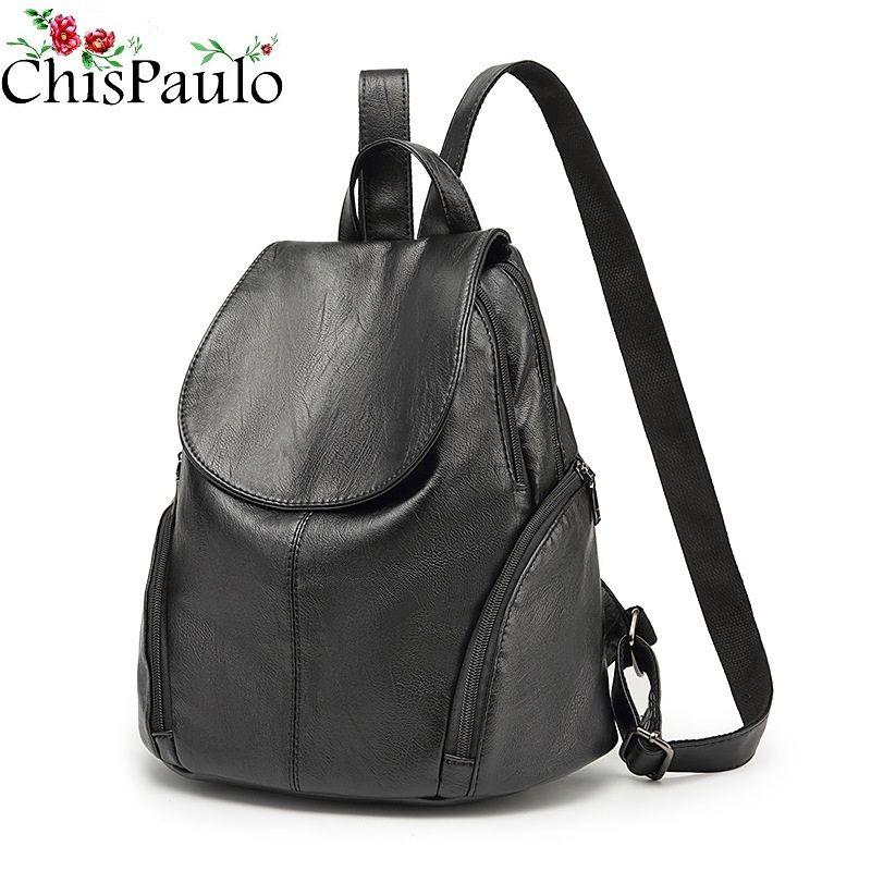 CHISPAULO luxus Echtem Leder frauen Rucksäcke Kurze Casual Rucksack Laptop Tasche reise Damen Tasche Mädchen Schule taschen C262