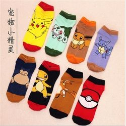 8 Styles Pokemon Go Ankle Socks Pocket Monster Women Men Socks Pikachu Charmander Cartoon Pattern Antiskid Casual Socks
