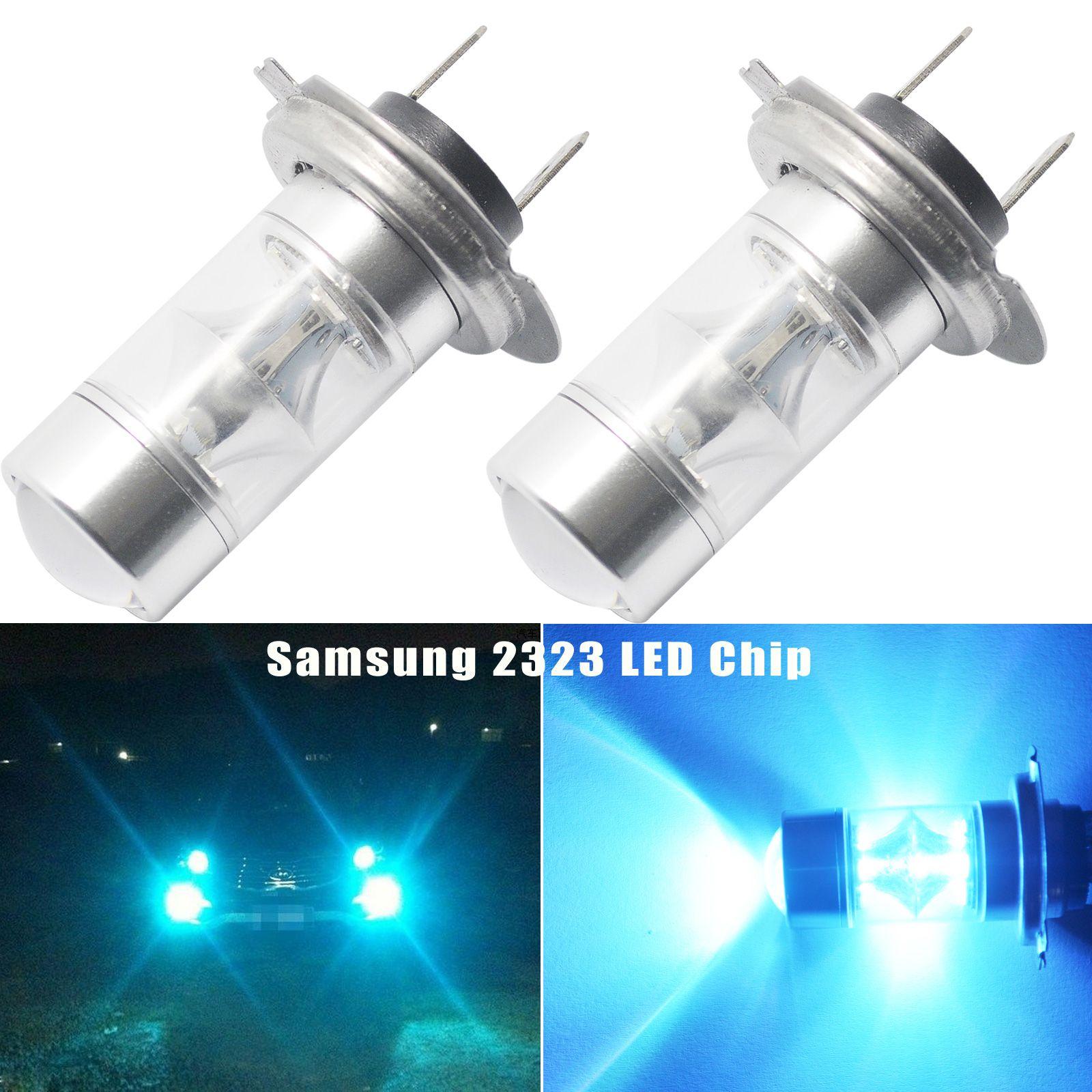 2pcs Car H7 Car 8000K Ice Blue 60W Car 2323 LED Fog Light 12-SMD Driving Bulbs DRL