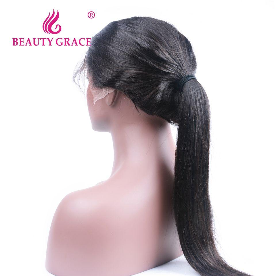 Beauté Grâce Sans Colle Avant de Lacet Perruques de Cheveux Humains Avec Bébé Cheveux Naturel Noir Non Remy Brésilienne Droite Perruques Pour Femmes
