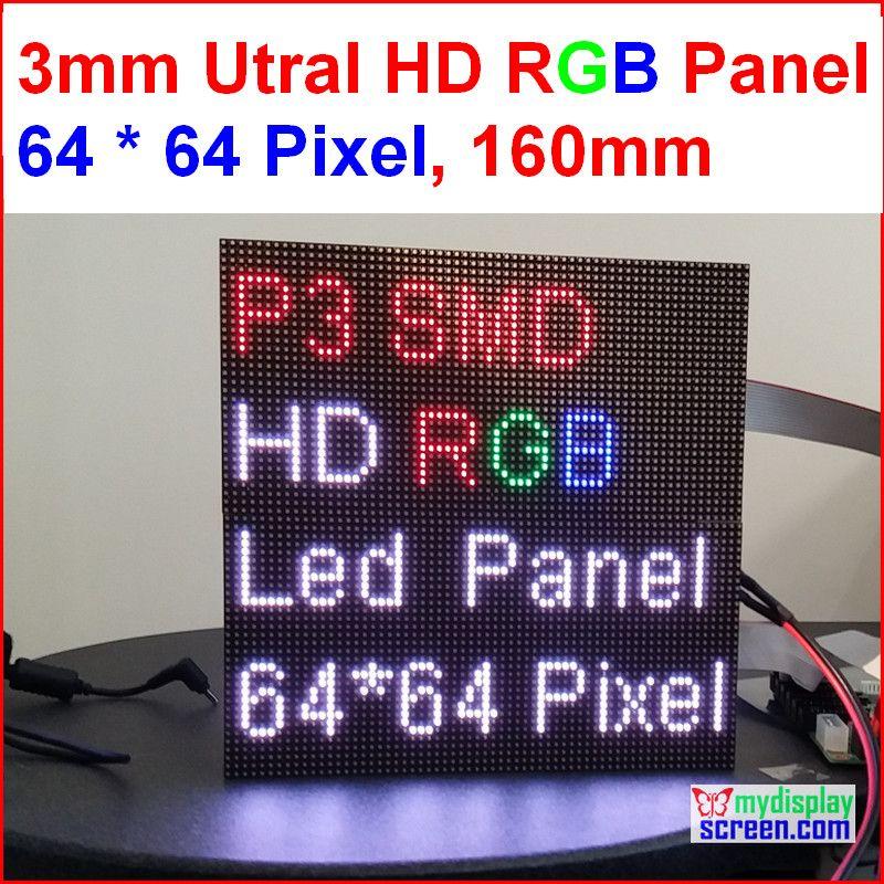 2 en 1 3mm panneau led rgb, haute résolution, 64x64,192mm * 192mm, led noires, smd polychrome 1/32s intérieur p3 led panneau d'affichage