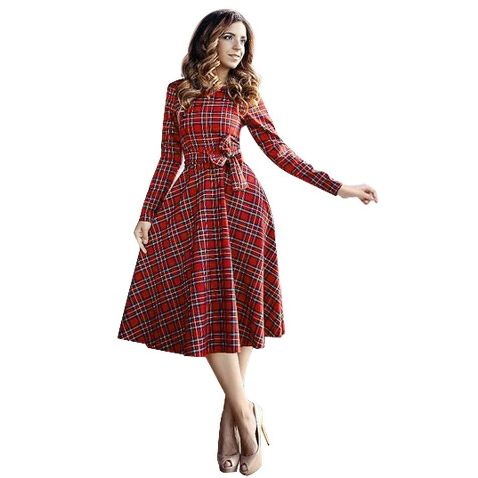 Fanala женское платье осень 2017 г. весна тонкий миди платье в клетку с длинными рукавами и бантом Bodycon красный Для женщин Платья для вечеринок оф...