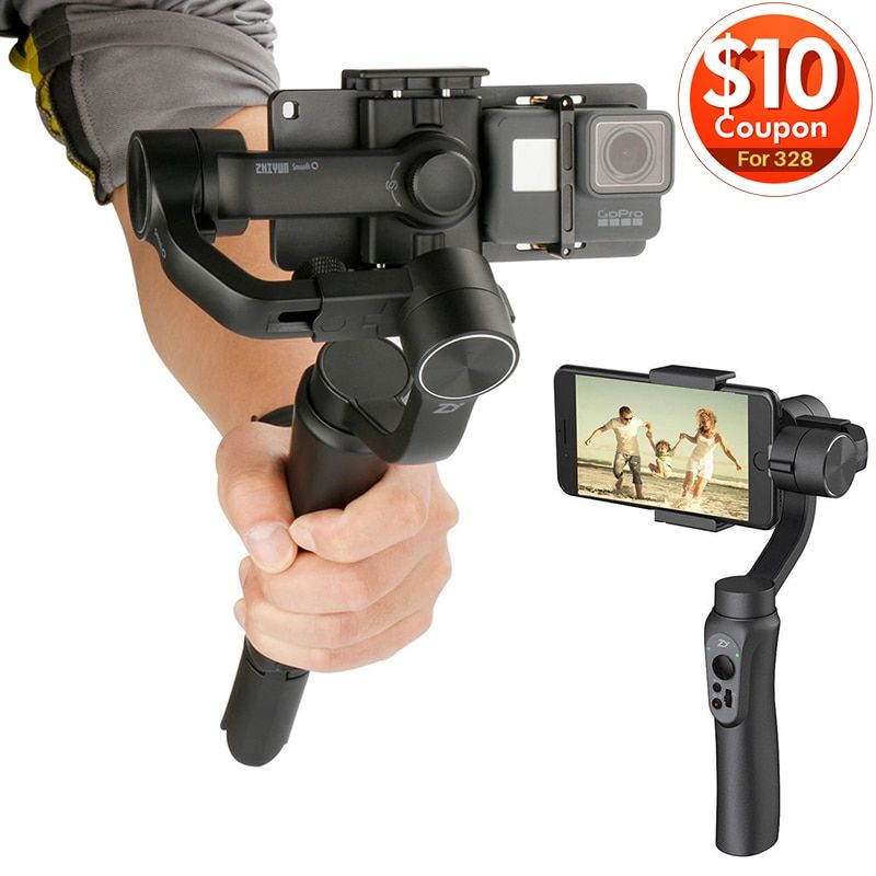 Zhiyun Smooth Q Gimbal 3-Axis Handheld Video Stabilizer Steadicam APP control for iPhone X 8 Gopro Sjcam Xiaomi Yi Action Camera