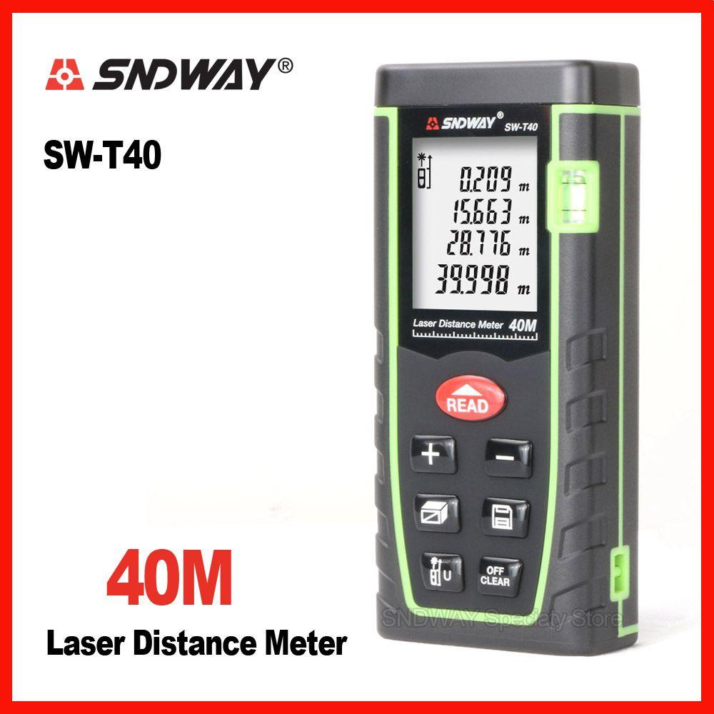 Sndway 40m laser range finder <font><b>distance</b></font> tape measure roulette meter measuring the trena rangefinder Electronic ruler tool SW-T40