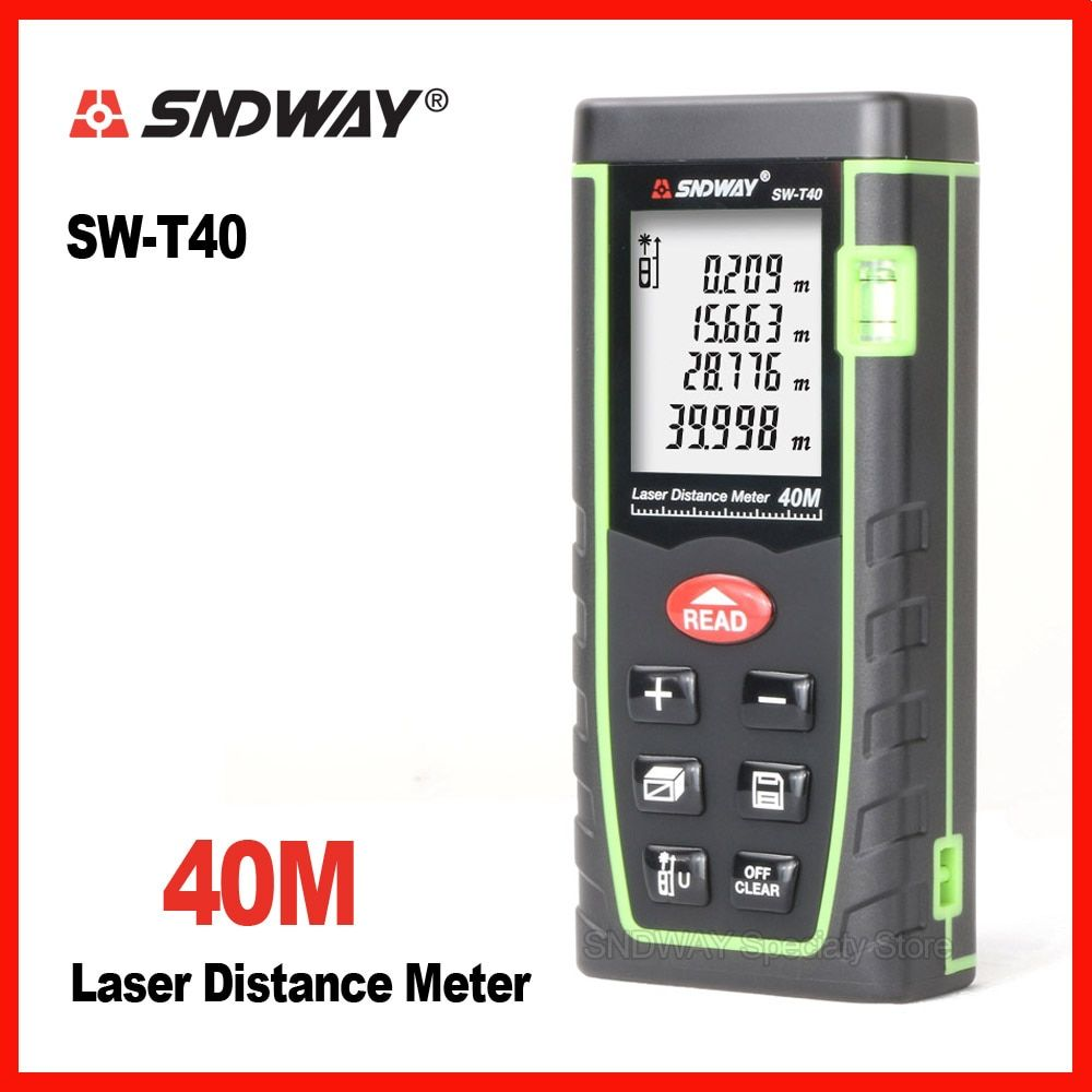 Sndway 40m laser range finder distance tape measure roulette meter measuring the trena rangefinder Electronic ruler tool SW-T40
