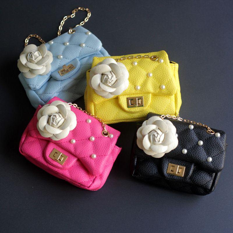 2017 Children Mini Cute Bag Flowers Messenger Bags Kids Girl Purse Handbags PU Party Princess crossbody bag For Baby Girls Gift