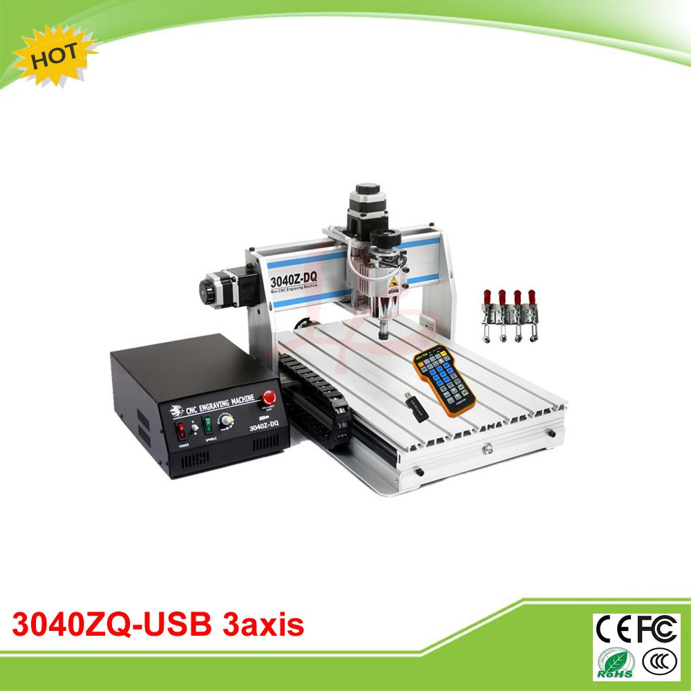 3040Z-DQ USB 3 axis 300W mini CNC engrave machine grinder with mach3 remote controller