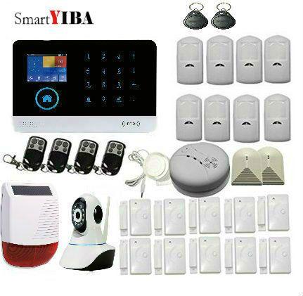 SmartYIBA WIFI GSM House Security Anti-theft Alarm System Solar Powered Siren Glass Break Sensors Kits Fire/Smoke Alarm