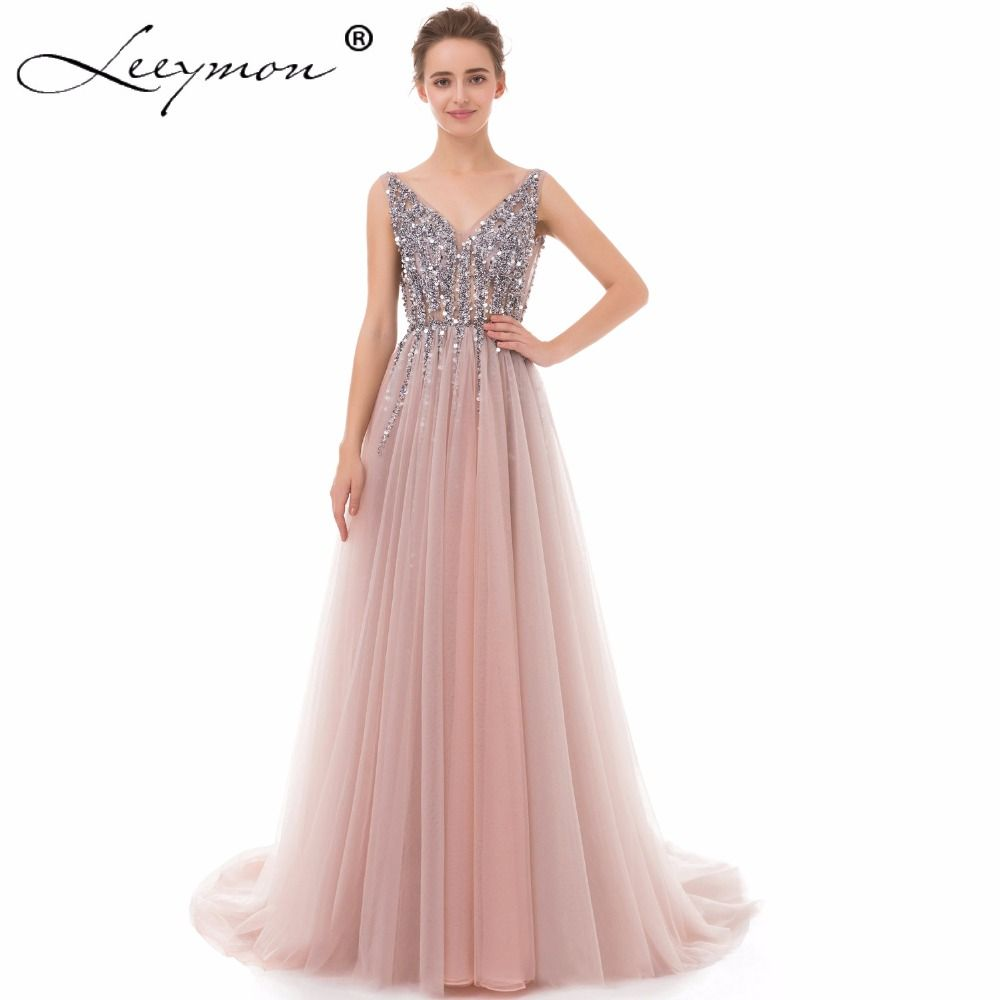 2018 Luxury Sexy Long Tulle Evening Dress High Split A Line Beading Spaghetti Strap V Neck Evening Gown vestidos de noche largos