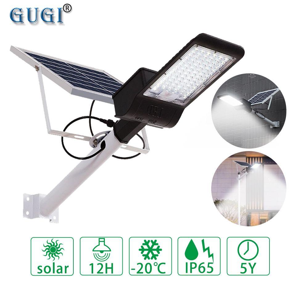 Schwarz Gehäuse Solar Led-straßenleuchte Mit Objektiv Wasserdichte IP65 Fernbedienung 80 W-150 W Led Solar Lampe für Garten Pfad Licht Pol