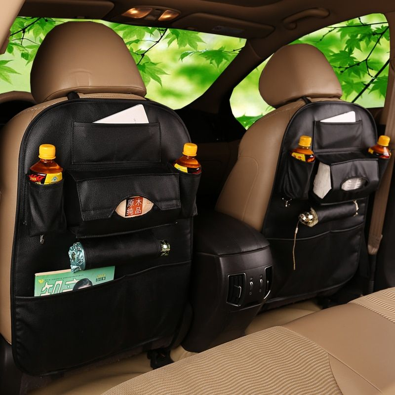 Car Seat Back Storage Bag High Quality Water Cup Holder Organizer Travel Box Pocket PU Leather Stowing Tidying Protector Drink