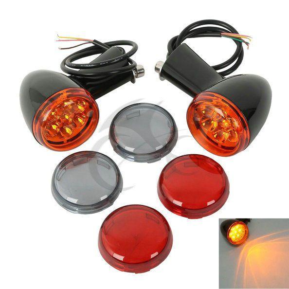 Motorcycle Rear Amber LED Turn Signals Lights Bracket Indicate Light For Harley Sportster XL 883 1200 1992-2017 Black Chrome