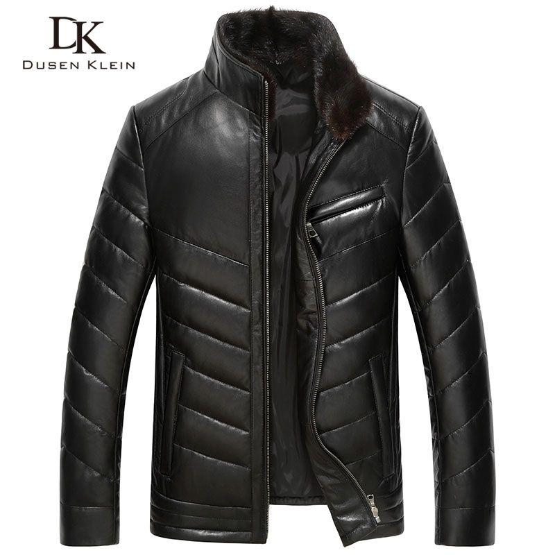 Dusen Klein 2017 New Luxury leather Down coats men Genuine Leather High quality mens sheepskin Winter coat Black 61J5833