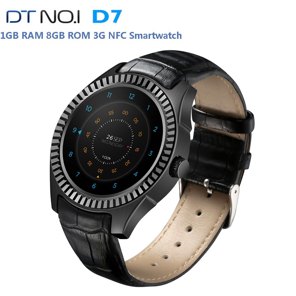 Original DTNO.I D7 3G Phone Call Smart Watch IP65 Waterproof NFC Bluetooth WIFI Android Watch GPS 8GB Healthy Monitor Smartwatch