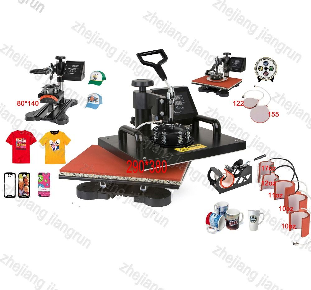 New Design 9 In 1 Combo Heat Press Machine,110V-240V Heat Transfer/Sublimation Machine,sublimation printer for Mug/Cap/TShirt Et
