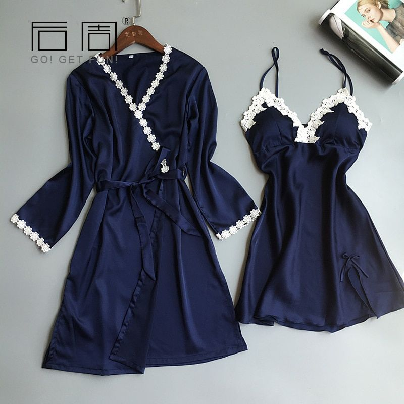 Robes Female Bathrobe Lace Sleepwear Satin Silk Robe Gown Set Spring Autumn Women Pyjamas 2 Pieces High Quality Home C