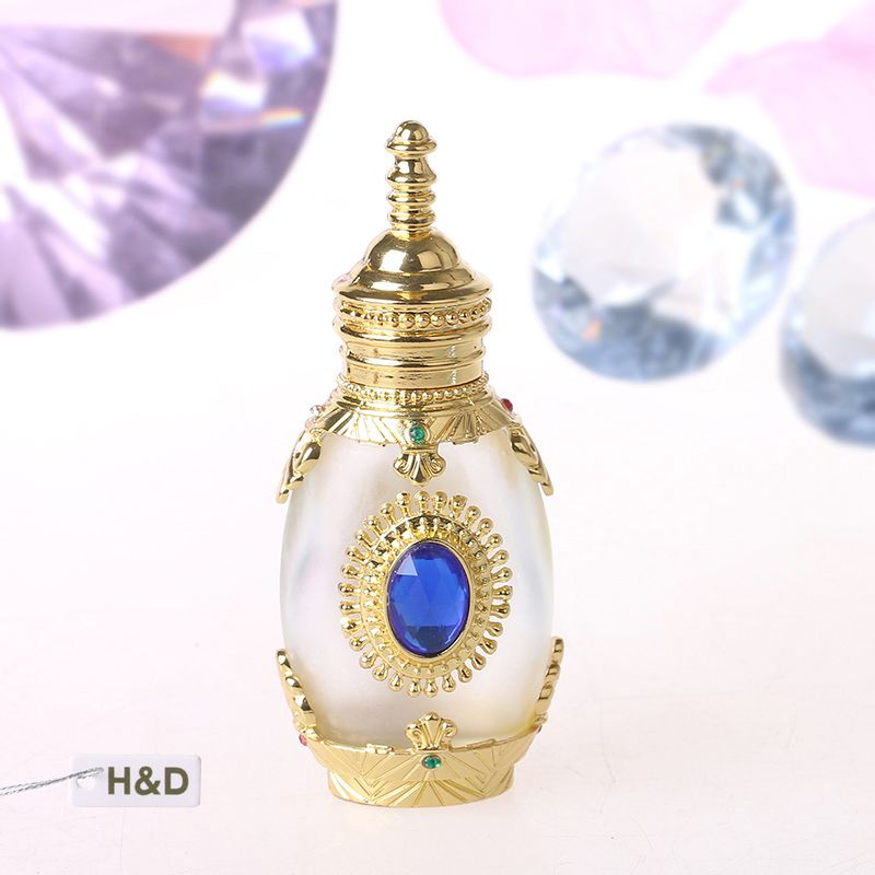 Gold Mosaic Retro 12ML Graven Brown Metal and Glass Empty Container Refillable Portable Gift Perfume Bottle Home Decoration