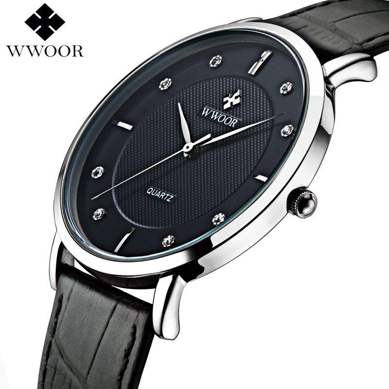 WWOOR de Marque De Luxe Hommes Montres Étanche Ultra Mince Simple Montre À Quartz Hommes Bracelet En Cuir Sport Montre-Bracelet Mâle Noir horloge