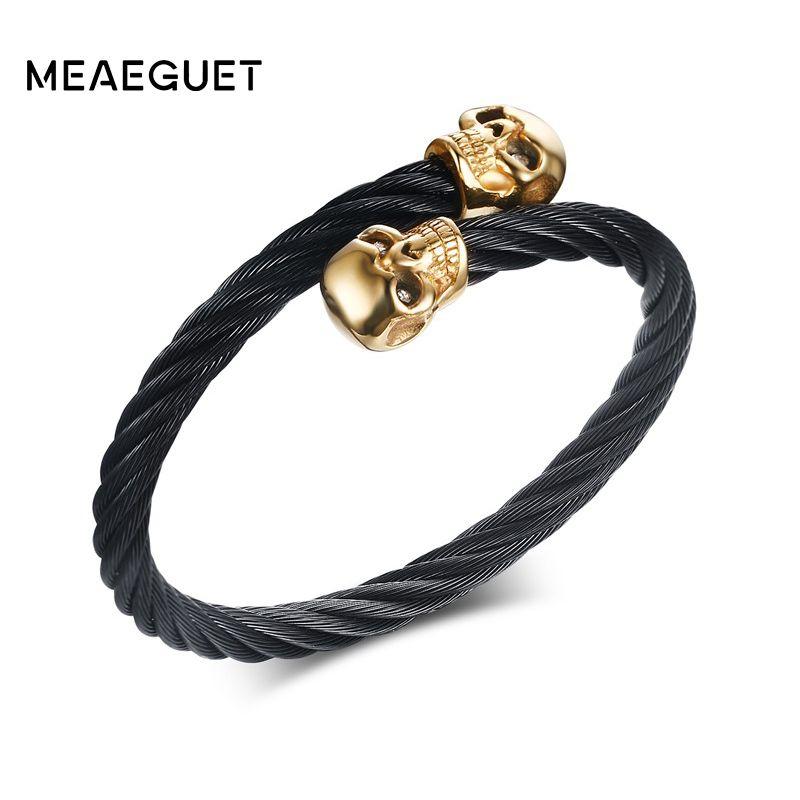 Meaeguet золото-Цвет Череп Черный Браслеты Проволока из нержавеющей стали кабель цепи манжеты эластичный регулируемый Для мужчин панк браслет