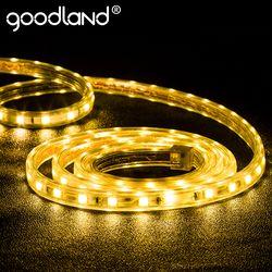Goodland светодиодная лента света AC 220 В SMD 5050 Гибкие светодиодные Клейкие ленты 60leds/м лента для Гостиная 1 м 2 м 3 м 4 м 5 м 10 м 12 м 15 м 20 м