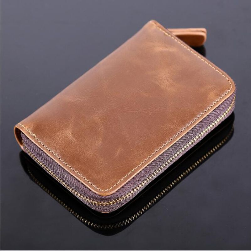 Solid Male Bank Credit Card Wallet Men Soft Card <font><b>Package</b></font> Real Cow Leather Coin Pocket Short Purse Slim Cards Cover Case Zipper