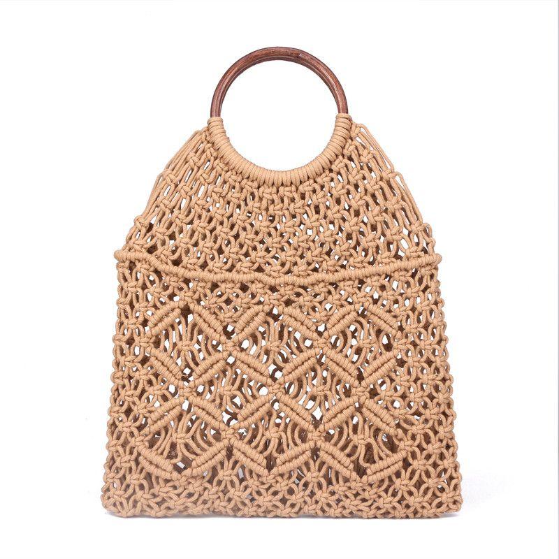 Popula Cotton Rope Hollow Straw Bag Sheer Macrame Tote wooden ring rattan handle Net Bag Vintage Retro Chic handbag