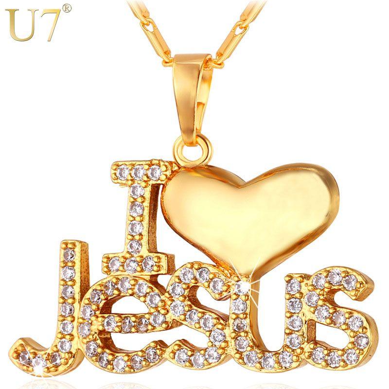 U7 collier CZ jésus coeur pendentif & chaîne