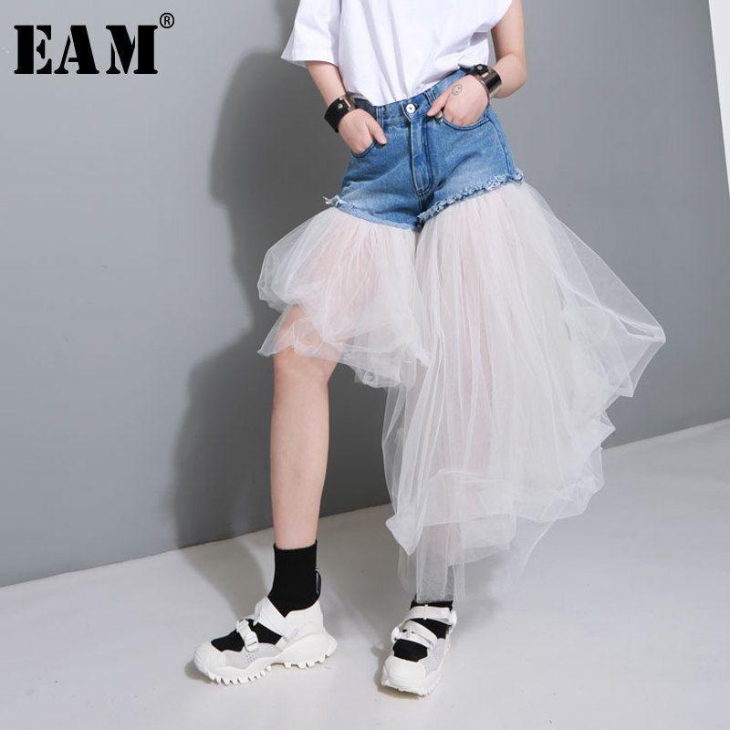 [EAM] 2018 New Autumn Summer High Waist Blue Denim Mesh Split Joint Irregular Jeans Women Trousers Fashion Tide JE87005S
