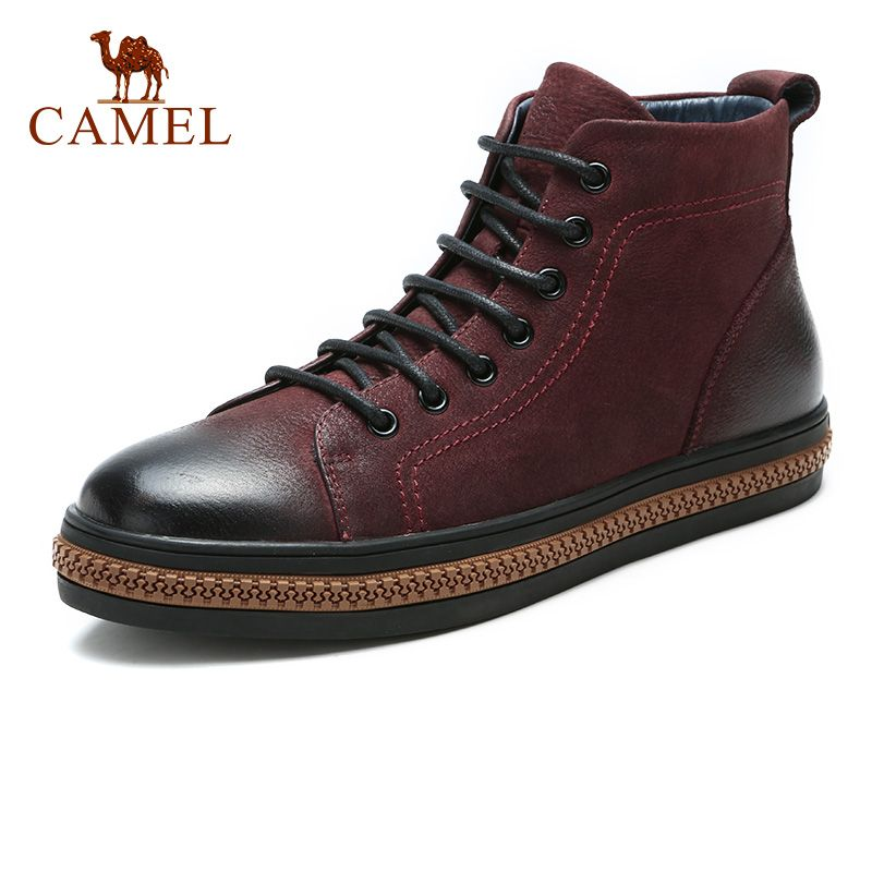CAMEL Men's Boots with Thin Fur Genuine leather Boot Man Fashion Casual Youth Trend Male Boats de hombre cuero